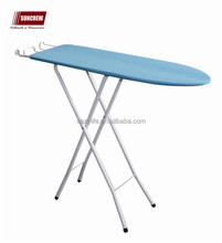 Home laundry use easy folding metal round tubes wooden iron board cheap price ironing board
