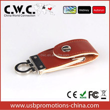 2015 cheap corporate gift leather usb flash memory, OEM pormo usb pen drive leather case, 32gb usb flash drive leather