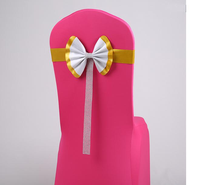 satin sash belt,lycra chair bands with diamond buckle wedding chair cover at factory price