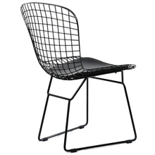 Replica leather cushion Harry Bertoia Black paint side Chair