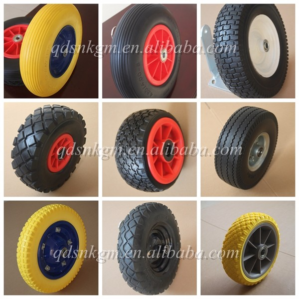 "4.0x8"" Polyurethane Foam Wheelbarrow Wheel With 1"" Axle Diameter"