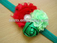 CF 0820 wholesale lace infant hair accessories bohemian style soft satin pearl shabby flower top baby headband