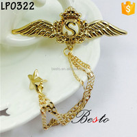 Latest style magnificent Eagle Wing metal brooch pin with chain,S,star