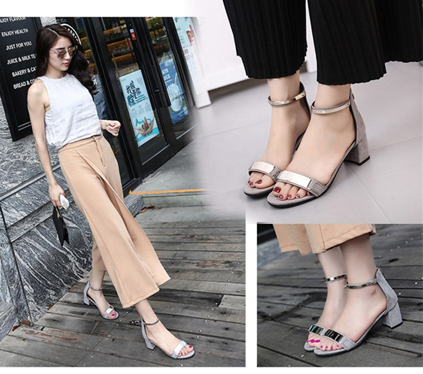 2019 suede ladies high chunky heel fancy ankle strap <strong>sandals</strong> with metallic