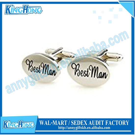 Cufflink tie set small nickel plated lettering