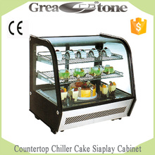 CE Certificate countertop chiller cake display cabinet, glass cake display cabinet for Sale