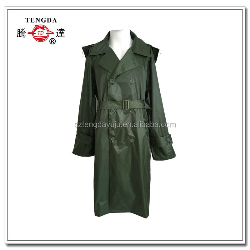 military green fashionable women long rainwear with belt