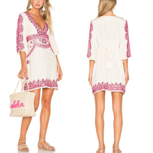 V neck and long sleeve short beaded beach wear kaftan dress