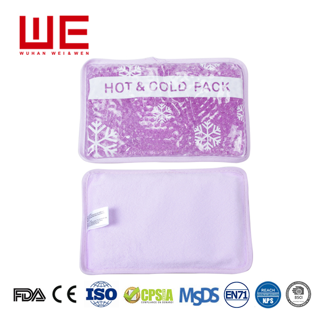 All purpose use personal care gel pack gel beads hot and cold pack with plush backing for pain relief