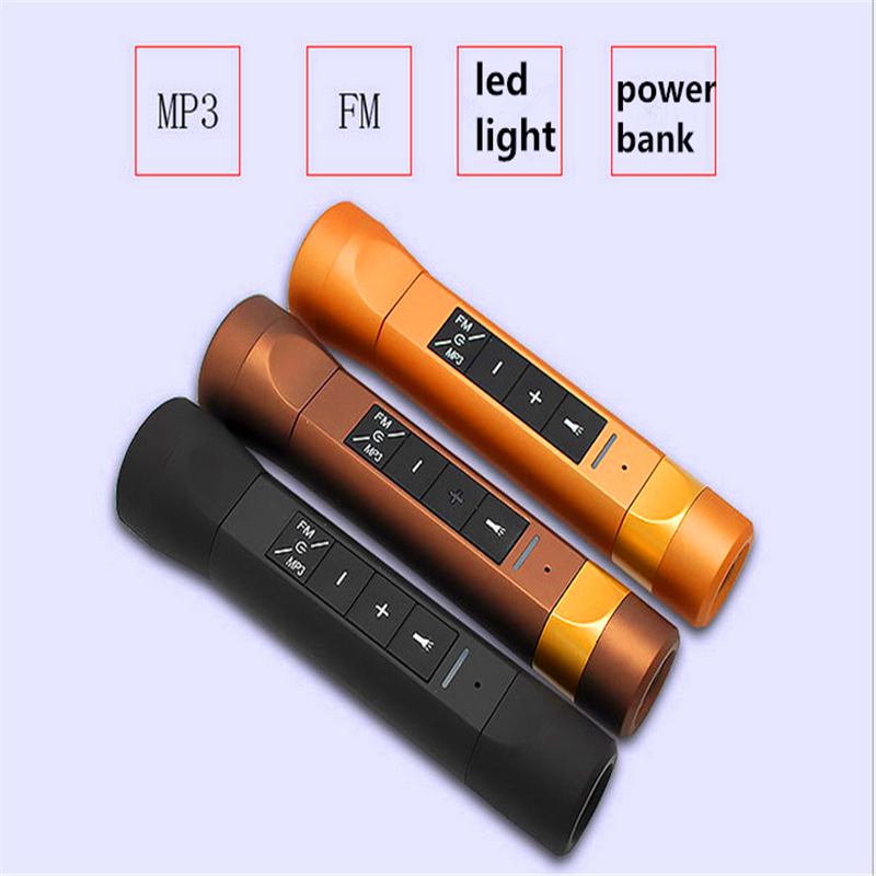 2600mAh External Battery Power Bank + Bluetooth Speaker + FM Radio+ Led Flashlight 4 in 1 Bicycle Handfree Musical Power Bank