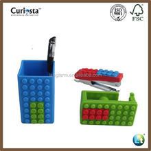 building block shaped stationary set/ stapler/adhesive tape holder/ pen container