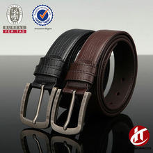 Men's black/brown crocodile leather belt