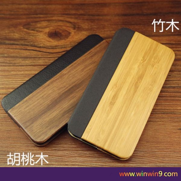2016 new style wood leather flip cover for iphone/for samsung,real wood phone case