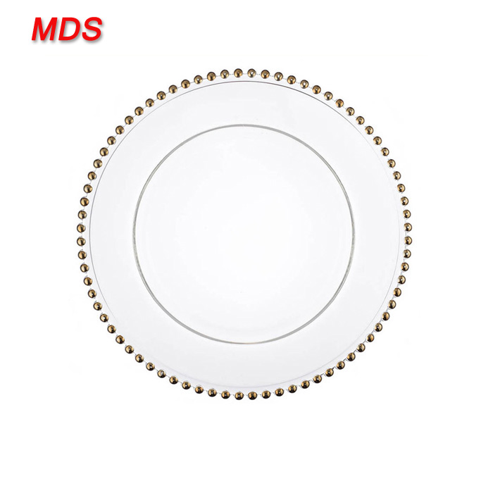 Hot custom wedding glass gold beaded charger plate