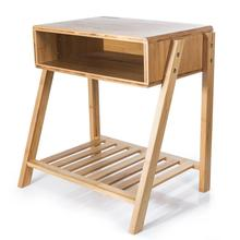 Natural Bamboo Side Table modern living room <strong>furniture</strong> Laptop Table with Open Storage Drawer