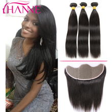 Hanne 8A Malaysian Straight Hair With 13*4 Ear To Ear Lace Frontal Closure, 100% Unprocessed Human Hair Extensions Full Bundles