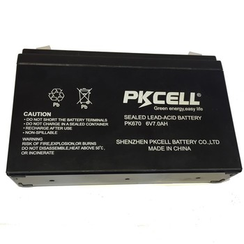 PKCELL Long life 6v 7ah lead acid rechargeable battery SLA and AGM