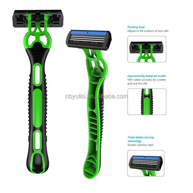 Amazon hot selling rubber handle triple blade popular shaver men shaving body hair