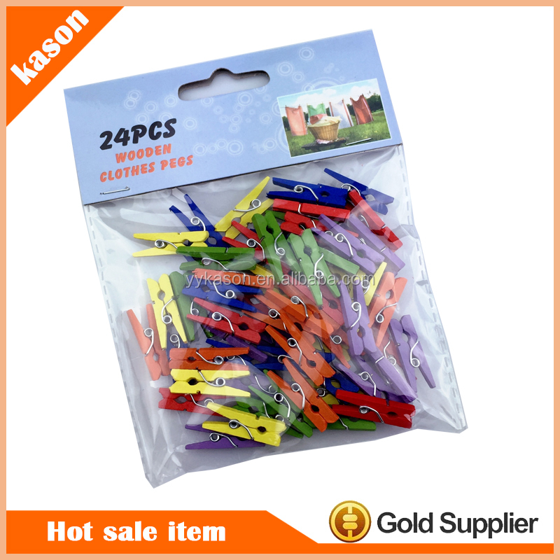 Colored high quality Spring Birch Wooden peg wood cloth pegs&Wooden clip