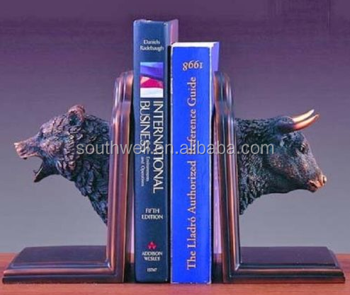 Wall Street Bull and Bear Bookends Set Bronze