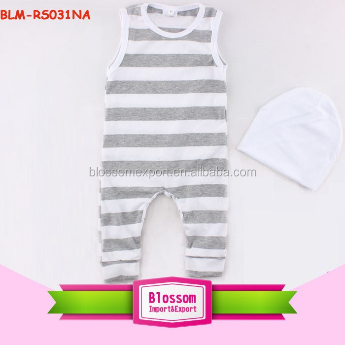 Wholesale children tank top romper infant clothing dropship bodysuit jumpsuit toddler heather grey stripe tank top romper