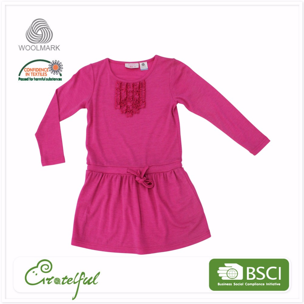 Children long sleeve breathable wool dresses summer baby clothes