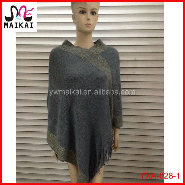 Wholesale 2017 latest new fashion knit acrylic shiny mexican poncho