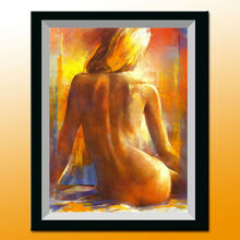 Handpainted abstract art modern art nude back female body painting with frame