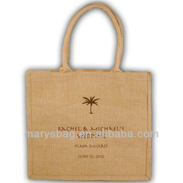 Laminated Jute/Burlap Tote Bag