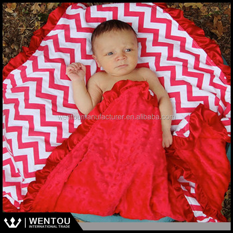 Wholesale Newborn Infant Soft Baby Ruffled Blanket Baby Shower Gift Chevron Minky Blanket