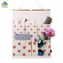 5 Pockets Portable Linen Storage Bag wall organizer office Bedroom Eco-friendly Hanging Organizer