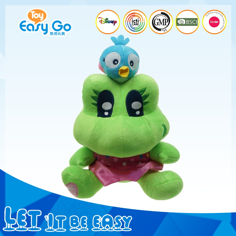 Promotion stting frog with a lovely bule bird plush toy
