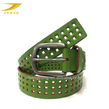 homemade femen leather belt, green laser cutting belt, square perforated belt