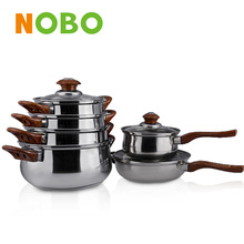 Two handle belly cookware set 6pcs Small Magnetic Saucepan 201
