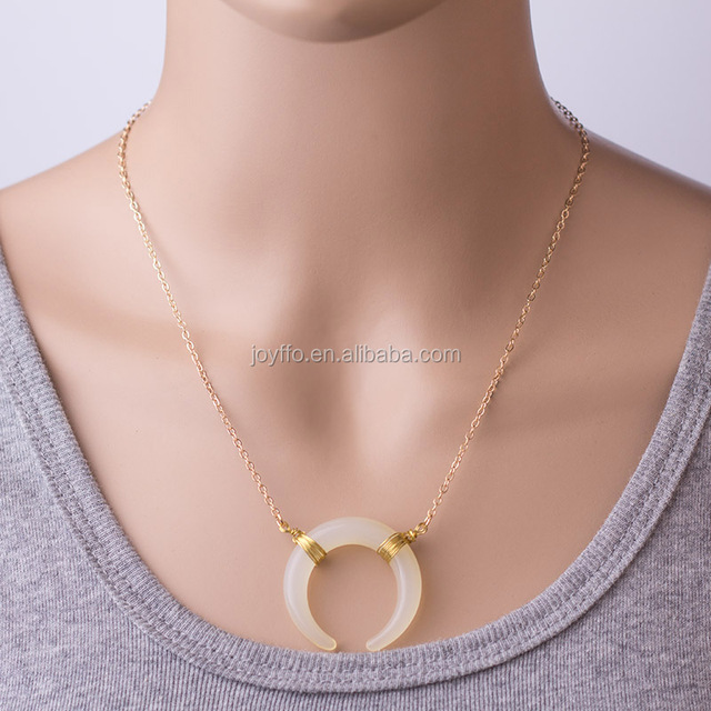 Women Half Moon Necklace in Gold Color Minimalist Horn Pendant Necklace