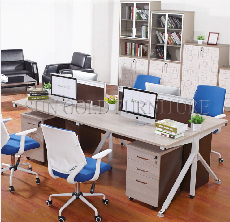 High quality unique style wooden modern office cubicles for 4 person (SZ-WS259)