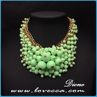 Women fashion alloy bohemian bib collar blue exaggerate beaded necklace
