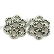 Chinese jewelry findings wholesale, antique silver 13mm bead caps assorted