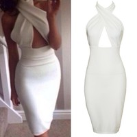 Sexy Women Sleeveless Hollow Chest Backless Bodycon cocktail party dress
