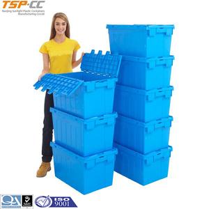 Nestable storage moving box plastic container stacking bins