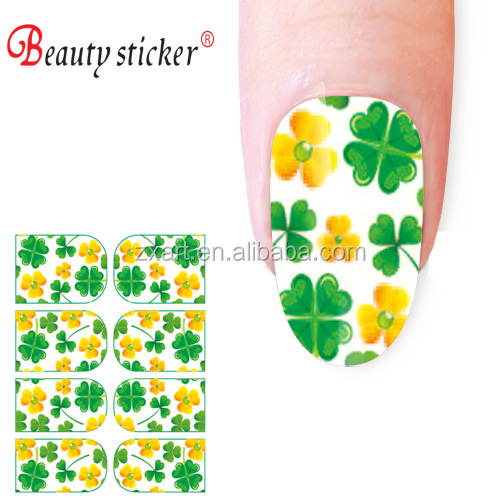 2016 trendy style hot sale long lasting Four Leaf Clover nail wraps for girls