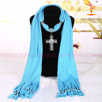 promotional jewelry women scarf with cross pendent