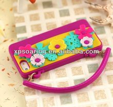 Mobile phone handbag silicone case for iphone 5 with flower