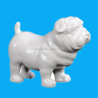 custom hand painted decorative white ceramic dog