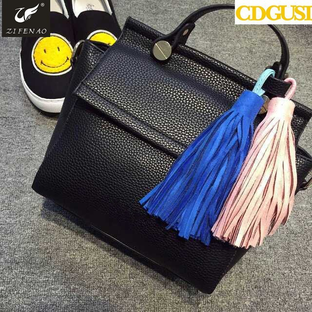 2015 new fashion style lady tote bag ice cream tassel fringe shoulder bag women's handbag