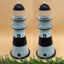 novelty decorative metal solar lighthouse ornament light for garden patio