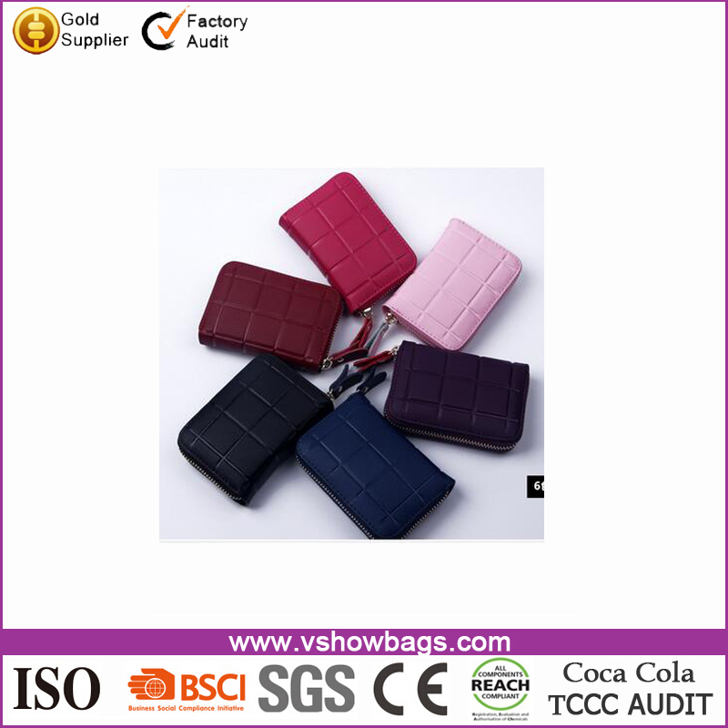 portable pu leather Card Holder with square stripe