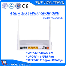 4*1000M LAN + 2POTs RJ11+ USB Port+ WiFi FTTH GPON ONT 2T2R Two External Antenna Wireless ONU Voice Home Gateway