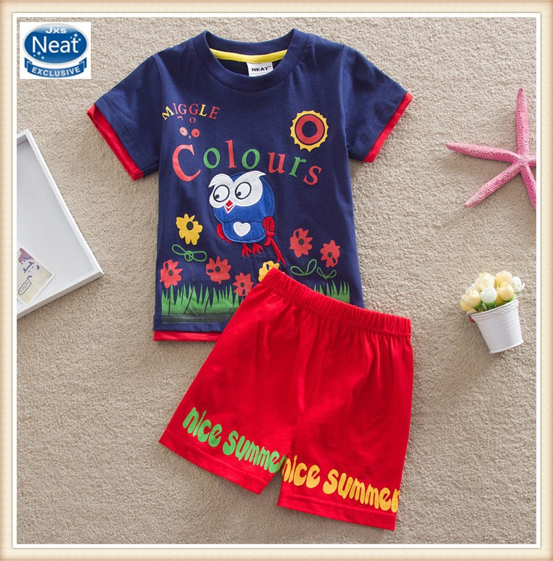 (TK1080) 6 colors Neat brand 18M-6Y baby boy summer suits children clothing sets applique owl