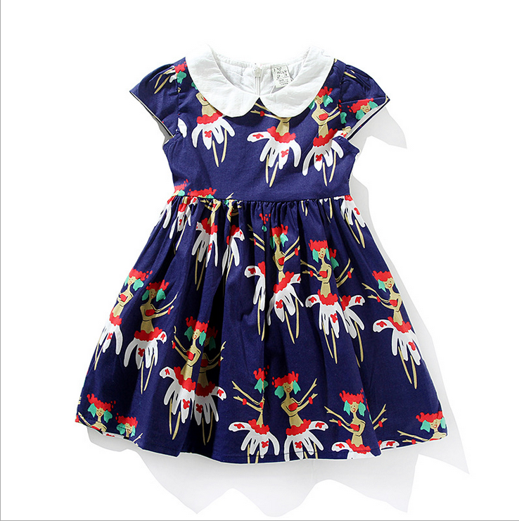 Children peter pan collar fashion dresses for baby girl